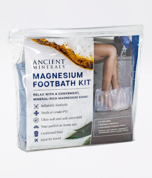 Ancient Minerals Magnesium Footbath Kit content - an immersive and relaxing foot bath soak for effective detox support.