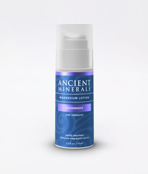Ancient Minerals Magnesium Lotion Goodnight 2.5oz - #1 nighttime sleep benefits of hydrating melatonin combined with magnesium, for better sleep, improved skin, increased energy levels, relieve sore muscles & cramps, headaches and nerve health.