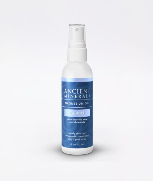 Ancient Minerals Magnesium Oil Sensitive 4oz - #1 for better sleep, improved skin, increased energy levels, healthy joints, provides inflammation and stress relief, and aides in muscle recovery and detox support.
