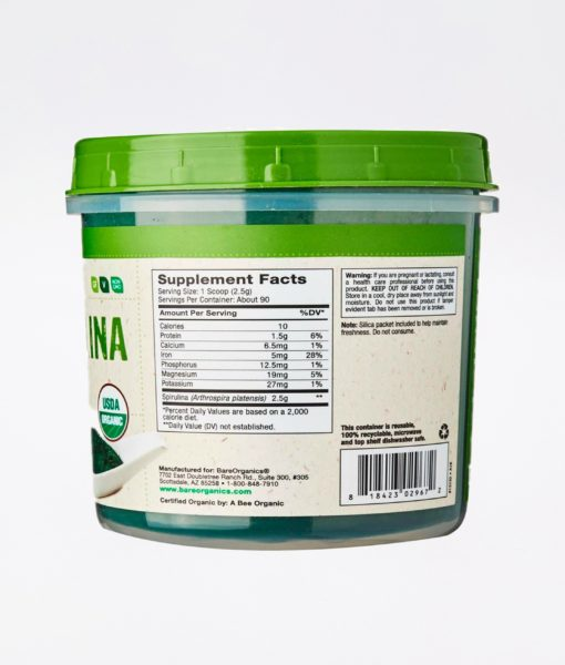 Ingredients of the all natural BareOrganics Spirulina Powder. It helps raise your energy, vitality and detox efficacy.