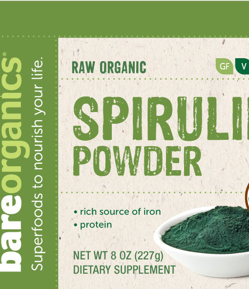 Ingredients and suggested use of the all natural BareOrganics Spirulina Powder. It helps raise your energy, vitality and detox efficacy.