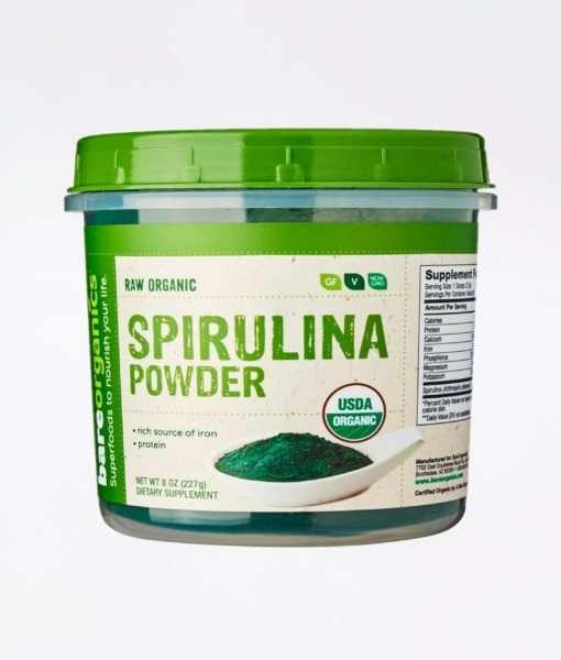 All natural BareOrganics Spirulina Powder - raise your energy, vitality and detox efficacy.