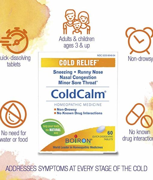 Boiron ColdCalm - homeopathic remedy to relieve cold symptoms such as sneezing, runny nose, nasal congestion and minor sore throat.