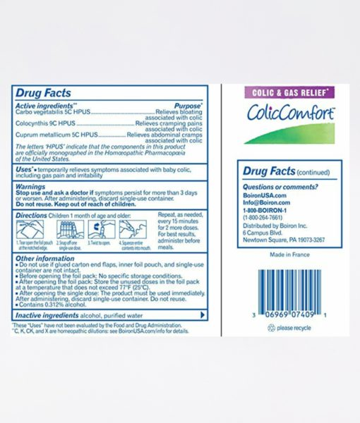 Boiron ColicComfort - homeopathic remedy to relieve symptoms of colic, including gas pain and irritability.