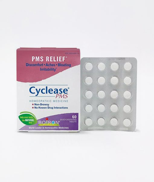 Boiron Cyclease PMS - homeopathic remedy to relieve premenstrual symptoms such as discomfort, aches, bloating and irritability.