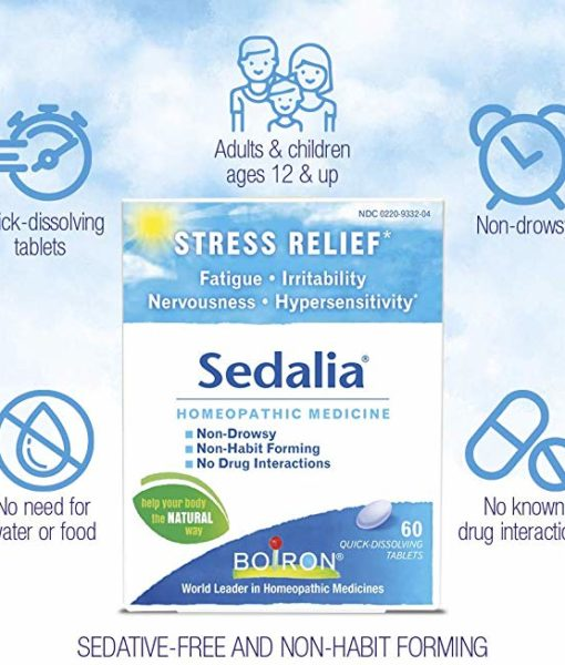 Boiron Sedalia - homeopathic remedy to relieve nervousness, irritability, hypersensitivity, and fatigue due to everyday stress.