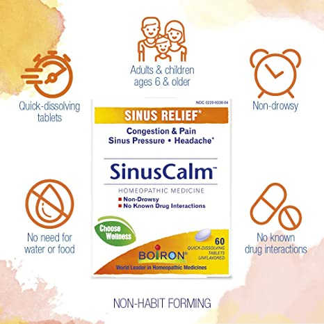 Boiron SinusCalm - homeopathic remedy to relieve nasal congestion, sinus pain and headache due to the common cold or allergies.