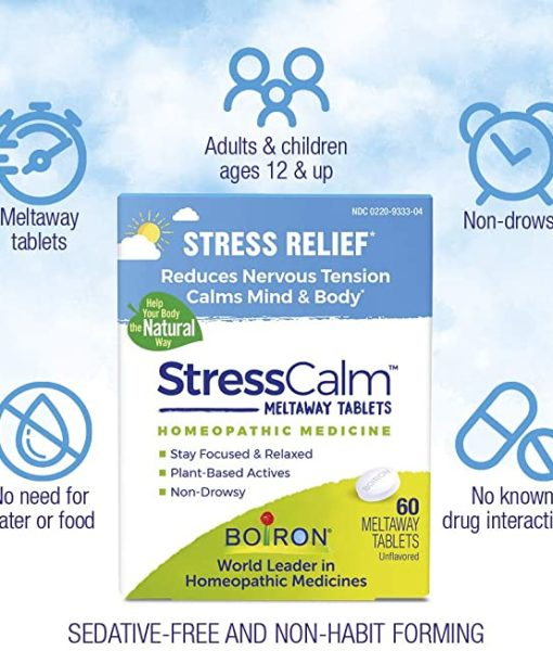 Boiron StressCalm - homeopathic remedy to relieve nervousness, irritability, hypersensitivity, and fatigue due to everyday stress.