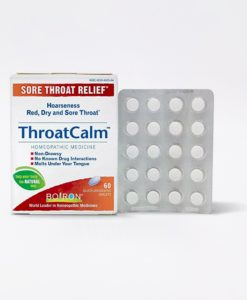 Boiron ThroatCalm - homeopathic remedy to relieve minor sore throat and hoarseness.