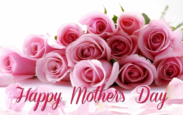 Wishing happy mother's day with a dozen pink roses.