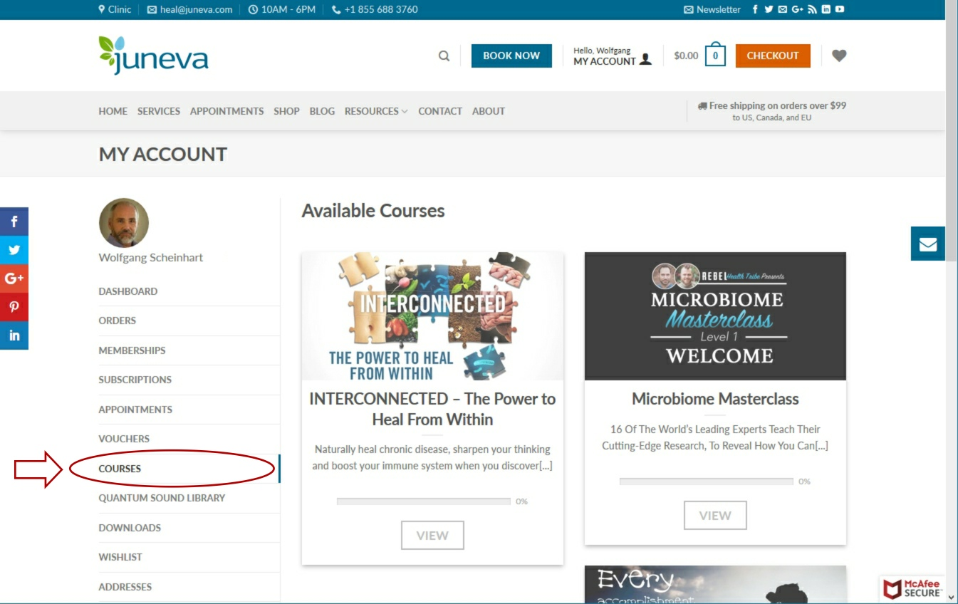 Juneva Health courses library access for total wellness plan members.