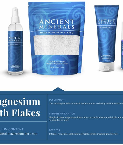 Ancient Minerals Magnesium Bath Flakes - an immersive and relaxing full body or foot bath soak for effective detox support.