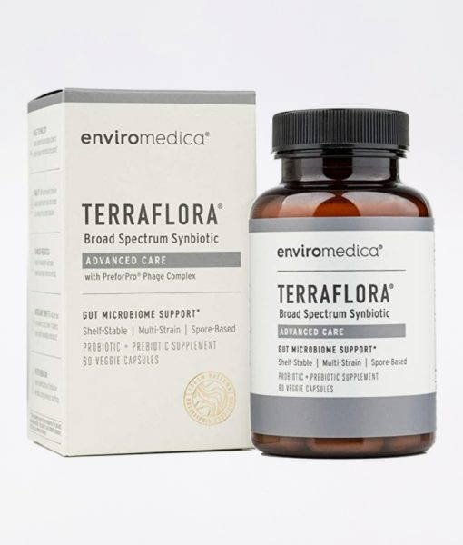 Enviromedica Terraflora Advanced Care formulated with a combination of spore form probiotics, and advanced, food-based, ancient prebiotics designed for robust support of gastrointestinal (microbiome) and immune health.