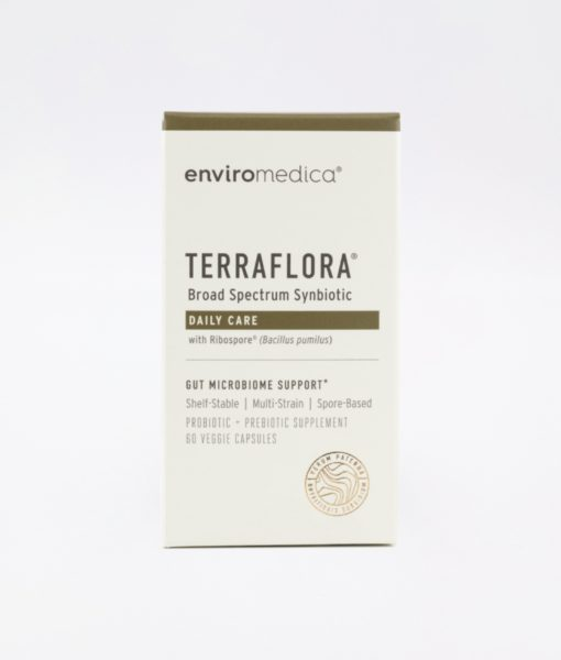 Enviromedica Terraflora Daily Care formulated with a combination of spore form probiotics, and advanced, food-based, ancient prebiotics designed for robust support of gastrointestinal (microbiome) and immune health.