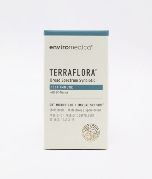 Enviromedica Terraflora Deep Immune formulated with a combination of spore form probiotics, and advanced, food-based, ancient prebiotics designed for robust support of gastrointestinal (microbiome) and immune health.