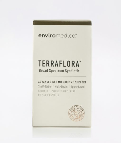 Package description of the all organic Enviromedica Terraflora Broad Spectrum Synbiotic formulated with a combination of spore form probiotics, and advanced, food-based, ancient prebiotics designed for robust support of gastrointestinal (microbiome) and immune health.