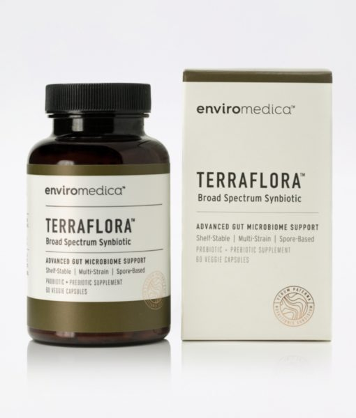 Enviromedica Terraflora Broad Spectrum Synbiotic jar and package - formulated with a combination of spore form probiotics, and advanced, food-based, ancient prebiotics designed for robust support of gastrointestinal (microbiome) and immune health.