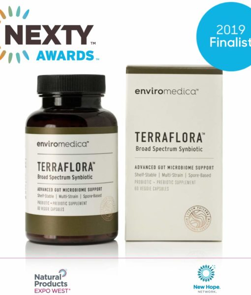 The award winning Enviromedica Terraflora Broad Spectrum Synbiotic formulated with a combination of spore form probiotics, and advanced, food-based, ancient prebiotics designed for robust support of gastrointestinal (microbiome) and immune health.