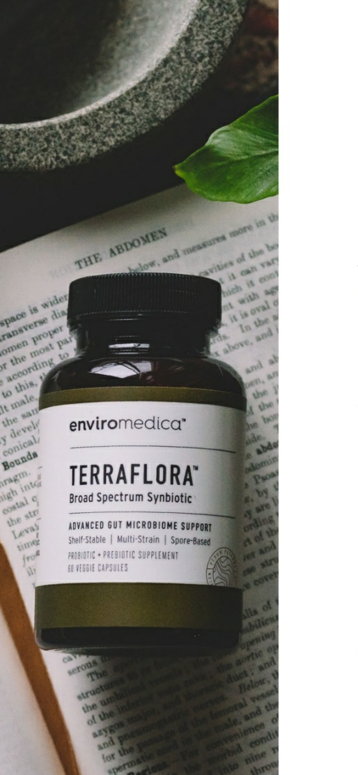 Enviromedica Terraflora Broad Spectrum Synbiotic formulated with a combination of spore form probiotics, and advanced, food-based, ancient prebiotics designed for robust support of gastrointestinal (microbiome) and immune health.