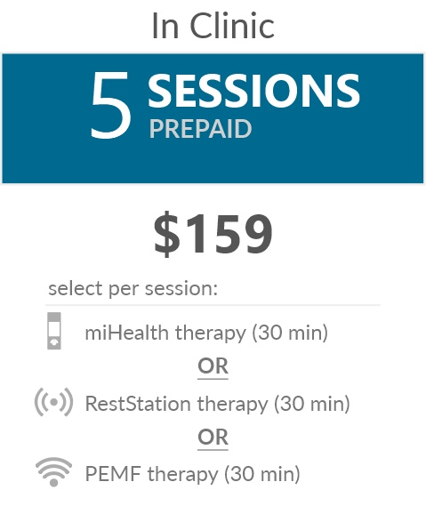 Juneva Health Flexible Sessions (5-Pack) - bioenergetic therapy sessions in our clinic for miHealth therapy, or RestStation vibroacoustic therapy, or PEMF therapy.