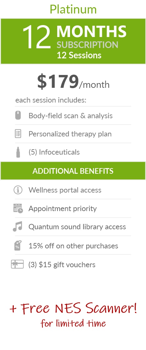 Juneva Health Total Wellness Plan - Platinum (Telehealth) - a twelve (12) months subscription that provides members with twelve (12) individual bioenergetic therapy sessions via Telehealth (remote) and access to other membership benefits. Each session includes a body-field scan & analysis, a personalized therapy plan and five (5) bioenergetic remedies (NES Infoceuticals) for use at home.