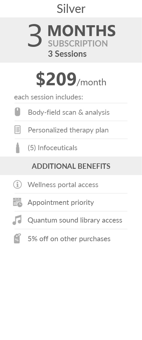Juneva Health Total Wellness Plan - Silver (Telehealth) - a three (3) months subscription that provides members with three (3) individual bioenergetic therapy sessions via Telehealth (remote) and access to other membership benefits. Each session includes a body field scan & analysis, a personalized therapy plan, and five (5) bioenergetic remedies (NES Infoceuticals) for use at home.