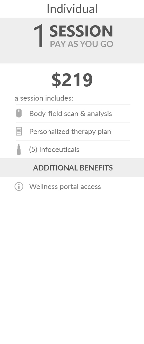 Juneva Health Individual Total Wellness Session (Telehealth) - a remote bioenergetic therapy session via Telehealth including body field scan and analysis, a personalized therapy plan, and five (5) bioenergetic remedies (NES Infoceuticals) for use at home.