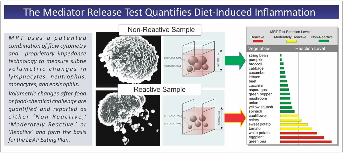 Mediator Release Test (MRT) ability to quantify diet-induced inflammation in response to food sensitivities.