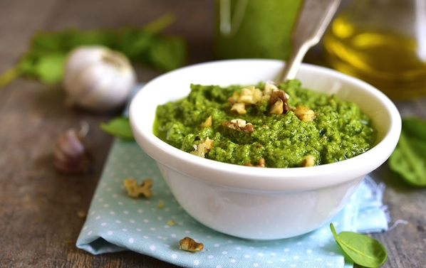 Nutritious moringa pesto - a favorite bioenergetic dish bursting with nutrients.