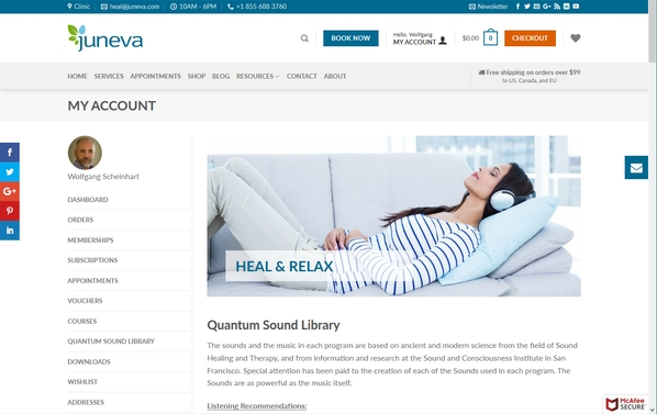 Juneva Health membership enhancements such as quantum sound library.