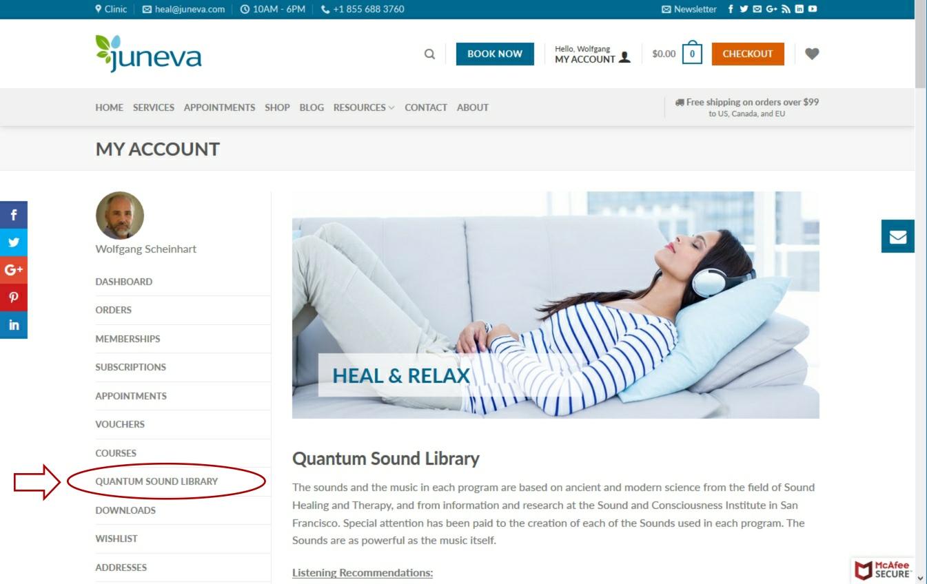 Juneva Health quantum sound library access for total wellness plan members.