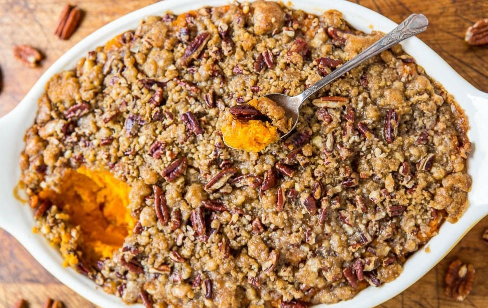 Sweet potato casserole with pecan crumble bioenergetic recipe.