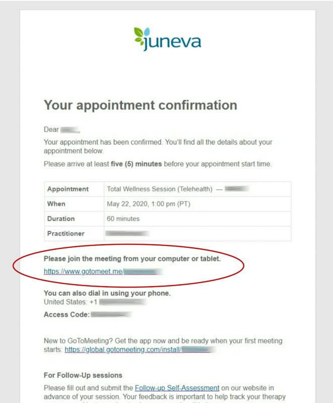 Juneva Health telehealth appointment confirmation example.