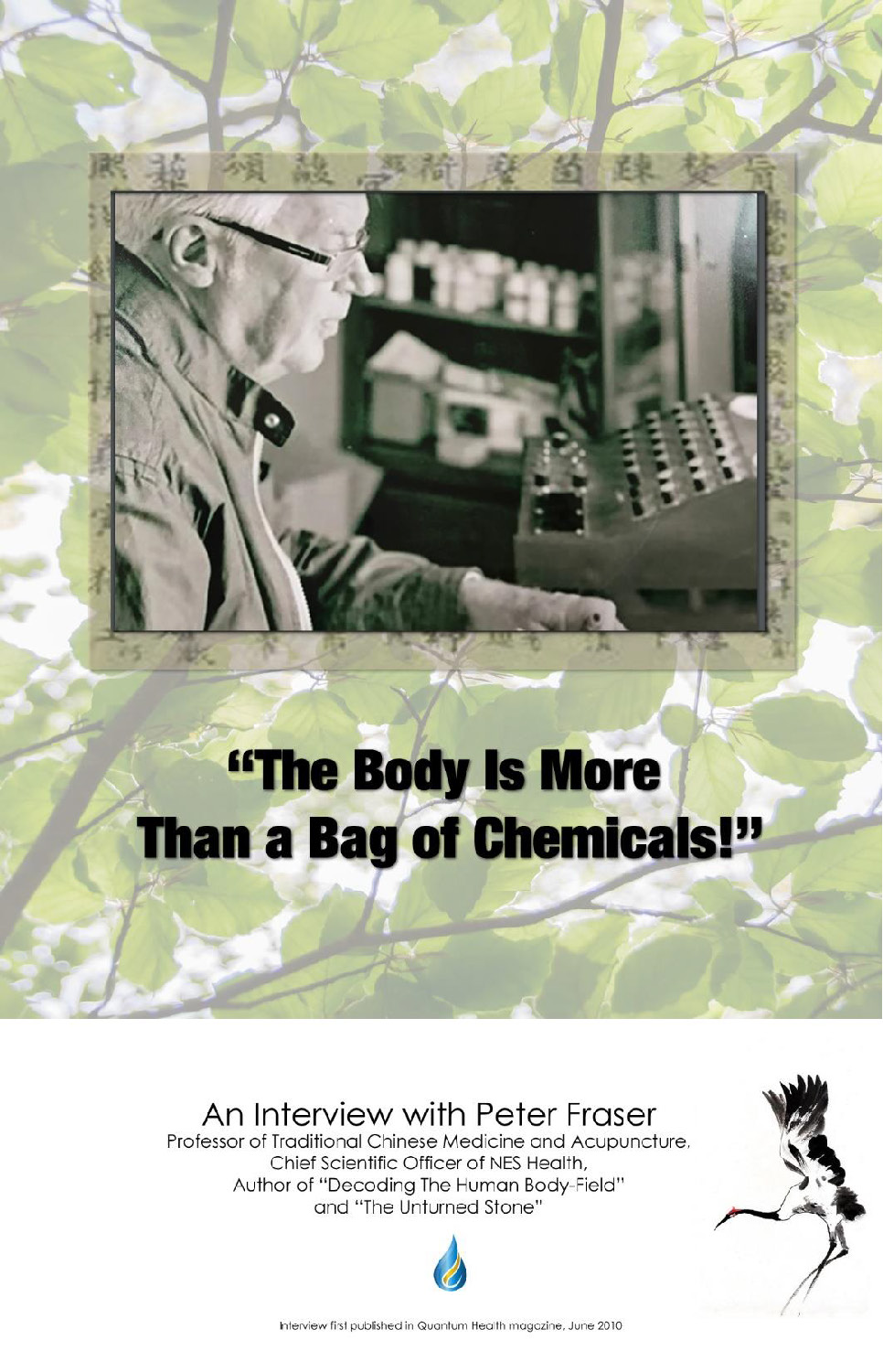 The body is more than a bag of chemicals - a rare interview with NES co-founder Peter Fraser.