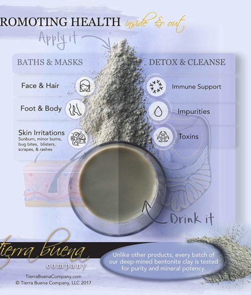 Health and detox benefits using the #1 premium food grade edible Tierra Buena Pure Clay for effective detox support.