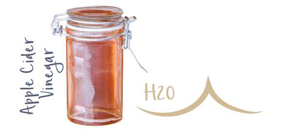 Icon symbolizing apple cider vinegar and H2O in glass jar.