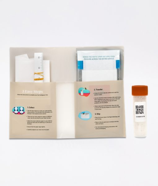 Viome Gut Intelligence Test Kit user instructions. The most advanced, cutting-edge technology gut health (microbiome) analysis test with personalized recommendations for food or supplements to restore a healthy gut flora.