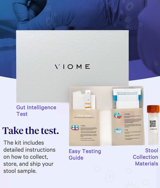 What does the Viome Gut Intelligence Test Kit include? It is the most advanced, cutting-edge technology gut health (microbiome) analysis test with personalized recommendations for food or supplements to restore a healthy gut flora.