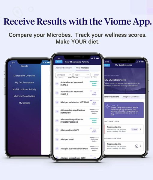 Viome Mobile Application screenshot - for clients to access comprehensive information about their gut health, superfoods and overall microbiome balance.