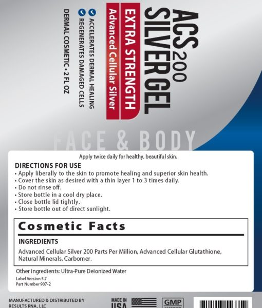 Ingredients and directions for use of the ACS 200 Silver-Glutathione Gel Extra Strength a unique topical formula that is soothing and rejuvenating and promotes a healthy skin.